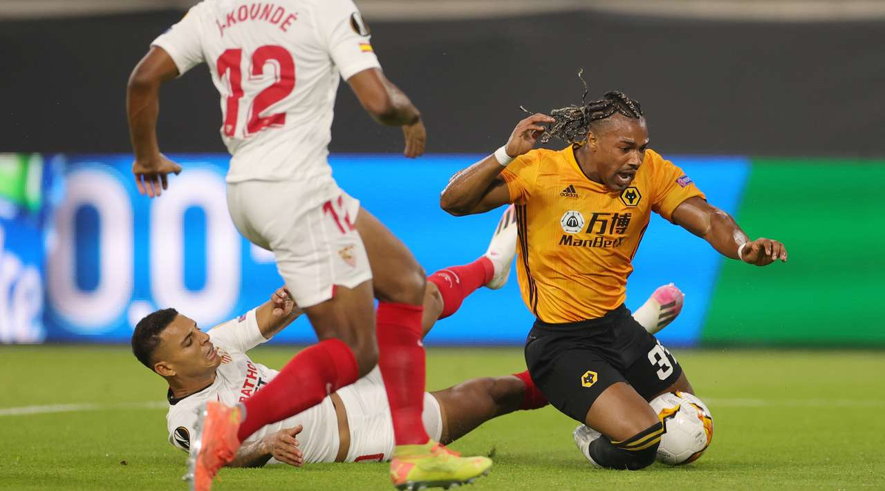 First half result & detail, Wolves vs Sevilla