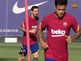 Coutinho & Messi snapped picture in training