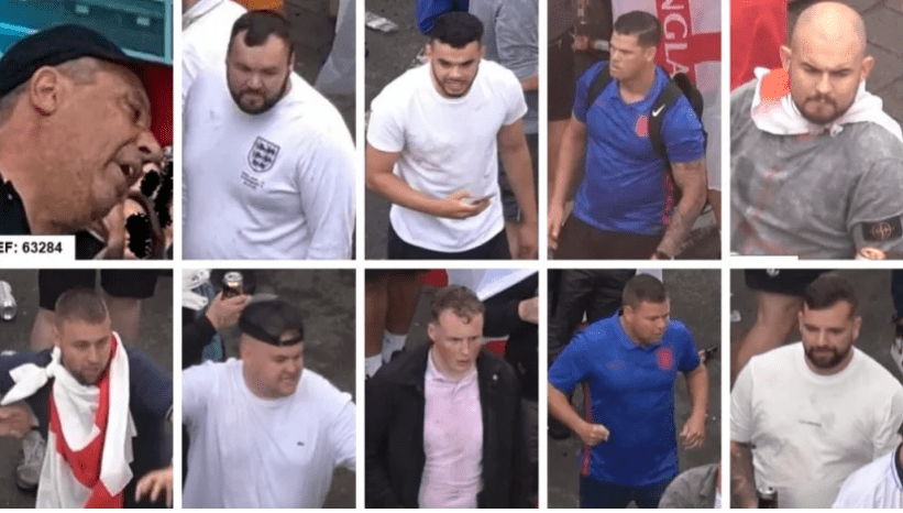 Police release images of wanted men in connection with Wembley disorder in Euro 2020 final